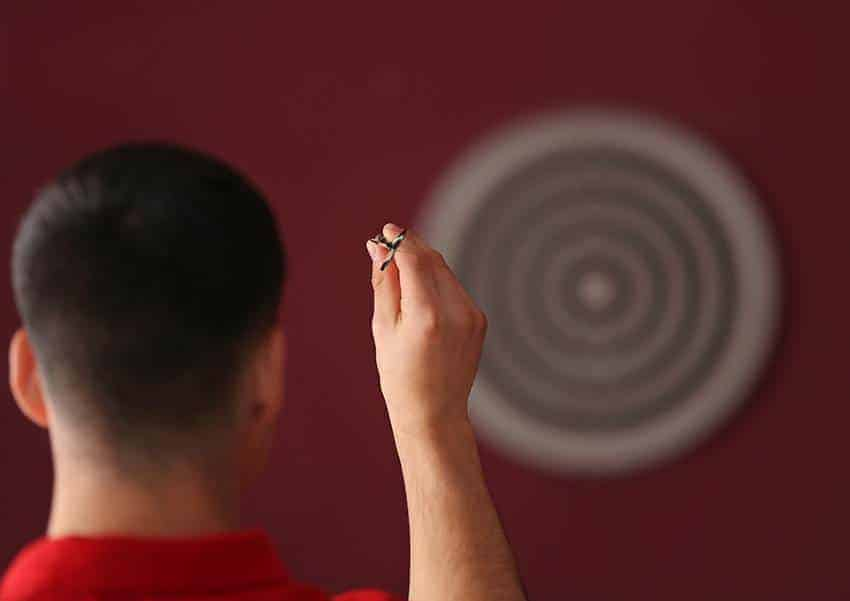 Keep your elbow up when aiming darts